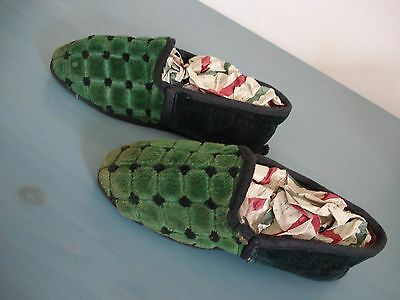 Vintage Child Toddler Doll Velvet Bed Slippers Shoes - Lovely
