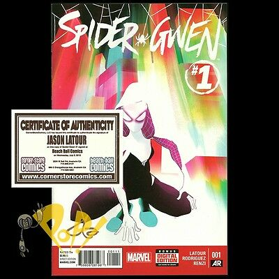 SPIDER-GWEN #1 Regular Cover SIGNED by JASON LATOUR with COA Marvel Comics NM!
