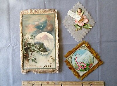 Old Vintage Antique Early Christmas Card Lot of 3; One Marked Prang 1883