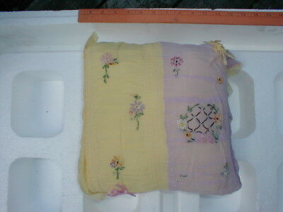 Vintage 1920's Lace Boudoir Embroidered Pillow - Square Shape Lavendar & Yellow