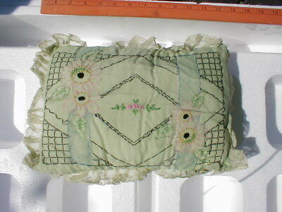 Vintage 1920's Boudoir Embroidered Pillow - Rectangle Shape Seafoam