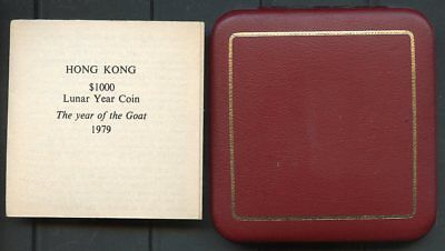 Hong Kong 1979 $1000 Year Of The Goat Gold Coin Uncirculated Cpl With Coa