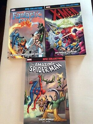 Marvel Epic Collections Lot Of 3 Spider-Man, Fantastic Four, X-Men Volumes One