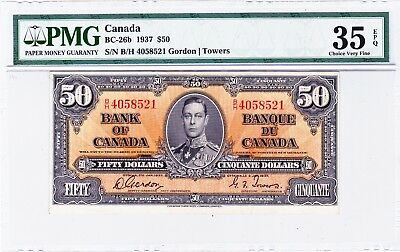 1937  Bank of Canada $50  Note PMG  VF-35 EPQ