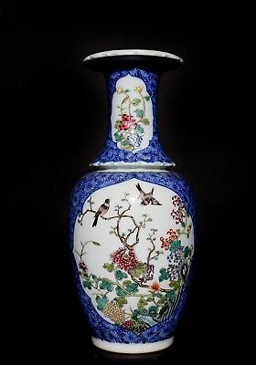 Rare Chinese Blue And White Porcelain Flower Bird Vase Mark Qing Dynasty FA500
