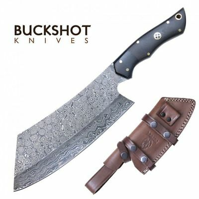 "Damascus Steel Cleaver | 11.25"" Overall Wood Handle Full Tang Knife + Sheath"