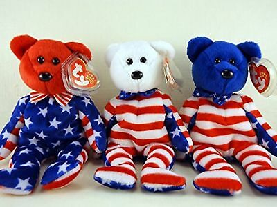 Ty Beanie Babies Liberty Bear Set of 3 Red White and Blue face