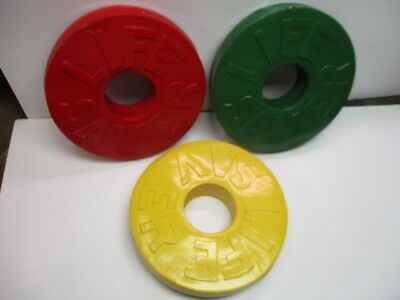 """3 Large 22"""" Lifesavers Vintage Display Pieces Yellow Green Red Unique Advertise"""