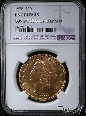 1878 $20 Liberty Gold Double Eagle Ngc Unc Details Cleaned 20 Lib