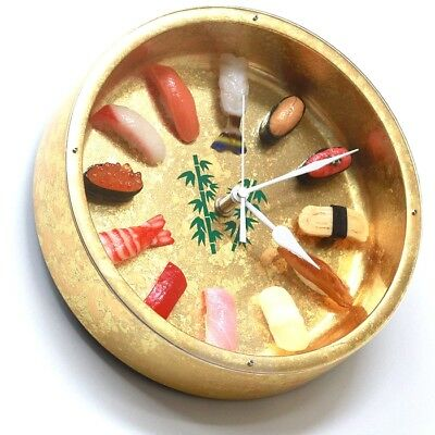 OH-REAL MADE In JAPAN Gift SUSHI Watch Gold Food Samples Wall Clock