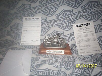 "Hudson Creek Pewter Harley Davidson 'washing The Sportster""  With Coa"