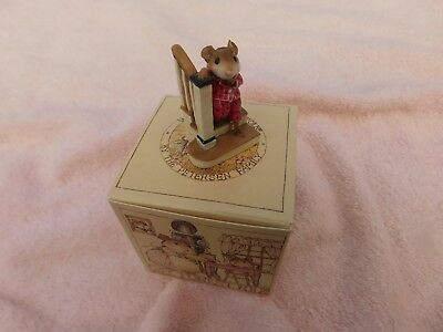 """Wee Forest Folk Mice """" EARLY RISER """" Red M-217 - Mint - W/Orig. Box - 1996-2000"""