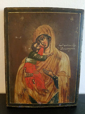 Antique Russian icon of Our Lady of Vladimir virgin mary baby jesus 18th century