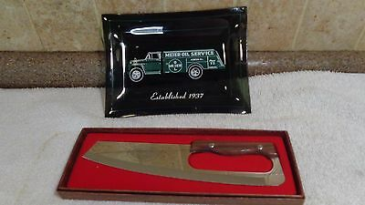 Vintage Advertising Tip Tray MEIER OIL SERVICE TRUCK ASHKUM ILL. & KNIFE ~2 LOT