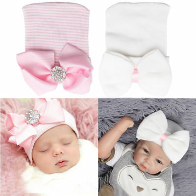 Baby Girls Infant Colorful Striped Soft Hat with Bow Cap Hospital Newborn Beanie