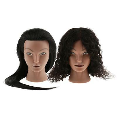 2pcs Cosmetology Silicone Training Mannequin Manikin Head with Human Hair