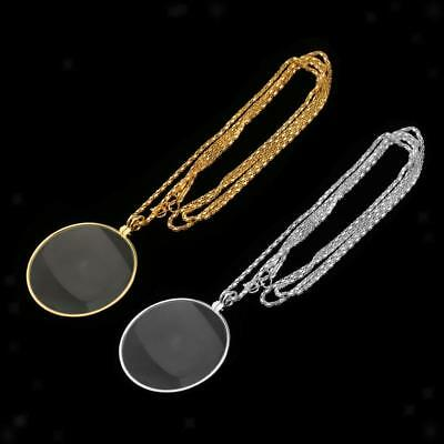 2pcs Metal Necklace Pendant Chain Map Magnifying Glass Magnifier Loupe 6X