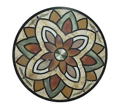 """Handmade 36"""" Black Round Inlay Floral Multi Stone Work Mable Table Top US2MTT"""