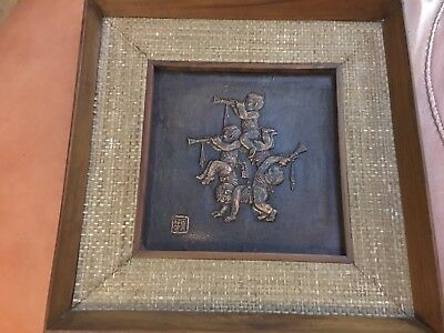 Antique vintage  Chinese or Japanese Wood art Painting