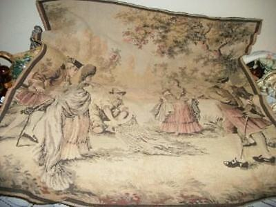 ANTIQUE 20s FRENCH CHIC FISHING SCENE ROMANTIC TAPESTRY HOLLYWOOD REGENCY SHABBY