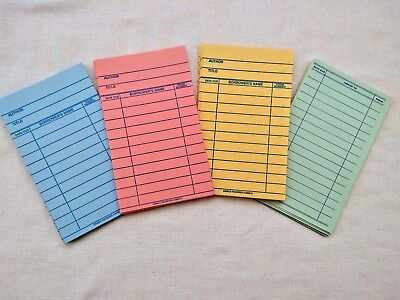 Unused Library Book Borrow Cards Author Title Due Date Demco Red Yellow Blue Gre