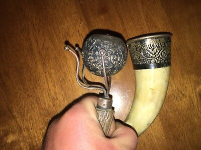 STERLING SILVER HORN Cup and horn sterling candle holder