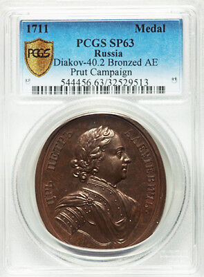 Russia late 1700s novodel medal Peter I the Great 1711 Prut campaign PCGS SP63