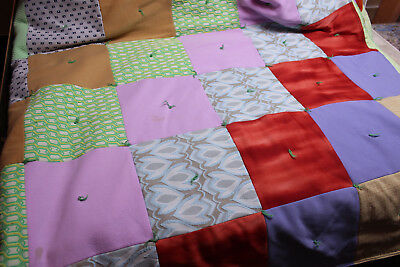 Vintage Handmade POLYESTER QUILT w/ Cotton Back  FOR USE! Camping Outside! COZY