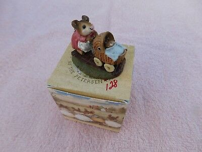 """Wee Forest Folk """" STROLLING WITH BABY """" M-128 - Mint - W/Orig. Box -1997 Retired"""