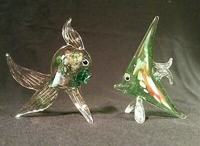 German Handcrafted Miniature Glass Goldfish and Angel Fish c1972