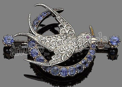 1.35ct ROSE CUT DIAMOND RUBY SAPPHIRE VICTORIAN LOOK 925 SILVER BROOCH PIN
