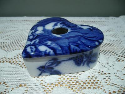 Staffordshire Flow Blue Heart Shaped Hair Receiver / Hair Pin Bowl - Vgc