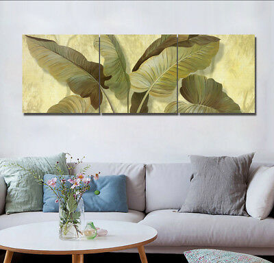 Retro Tropical Leaves 3pc Abstract Wall Decor Print Painting Canvas Art NO frame