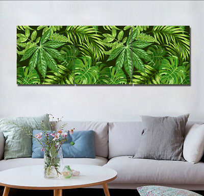 Abstract Green Tropical Plants Leaves Wall Decor Painting Canvas Art NO frame