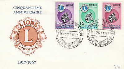 (06944) Rwanda FDC Lions International 16 October 1967