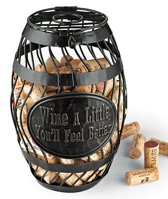 Vintage Antique Style Look Wine Barrel Cork Catcher Cage Handcrafted Hinged Lid