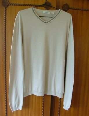 """""""country Road"""" ~ Off White V-Neck Knit ~ Fine Black Detail ~ All Cotton ~ Medium"""
