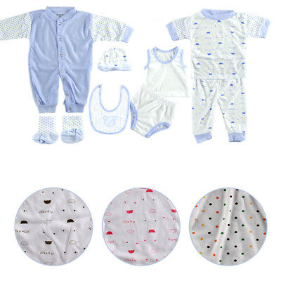 UK 8PCS Newborn Infant Kids Baby Boy Girl T-shirt Tops+Pants Outfits Clothes Set