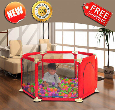 NEW Baby Playpen Kids Round Safety Gate Room Toddler Play Tent 6 sided
