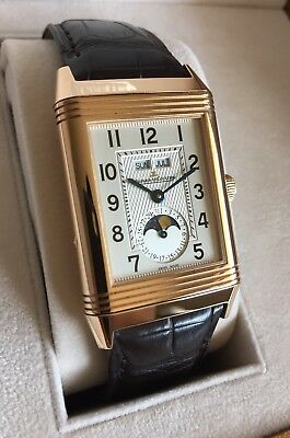 As New Jaeger leCoultre Reverso Calendar 18K Rose Gold Moonphase Watch Q3752520