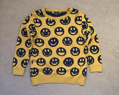 Boys Next Yellow Navy Smiley Emoji Faces Jumper Top Age 4-5
