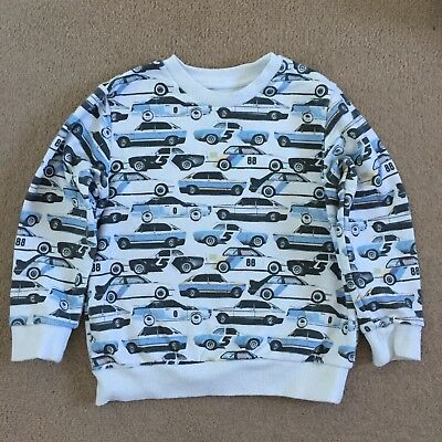 Boys Next White Blue Cars Jersey Jumper Top Age 4-5