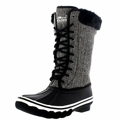 Womens Snow Rain Waterproof Boots Outdoor Winter Fold Down Cuff Boot Rubber Sole