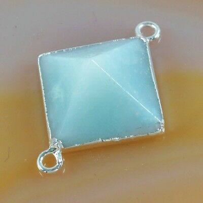 Multi-Color Amazonite Faceted Point Connector Silver Plated B052922