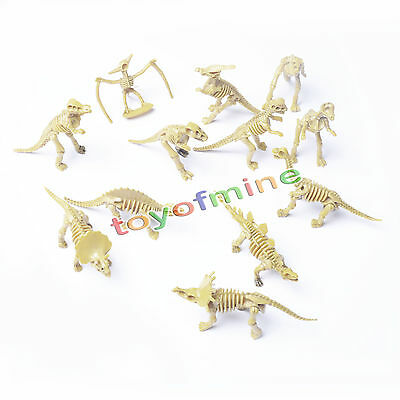 Lot 12 Assorted Plastic Dinosaurs Fossil Skeleton Dino Figures Kids Toy Gift