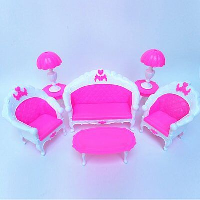 6Pcs Toys Barbie Doll Sofa Chair Couch Desk Lamp Furniture Set Disassembled