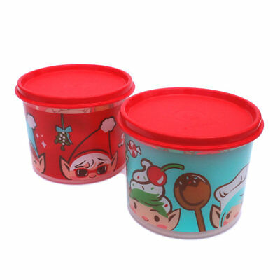 Tupperware Round Christmas Elf Decals Small Classic Canister Set 500ml NEW