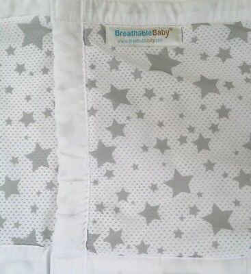 BreathableBaby 4 Sided White with Silver Stars Crib Liner in great condition