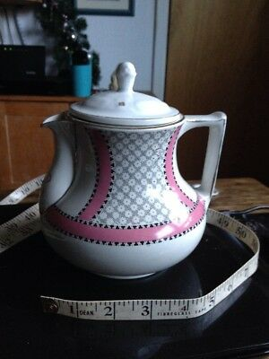 Vintage Teapot Gibsons Lune Pattern Pink White And Gilt
