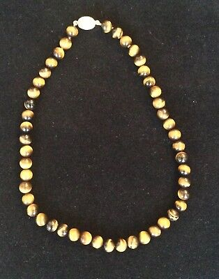 Antique Chinese Tiger Eye Beads Necklace/Silver Clasp